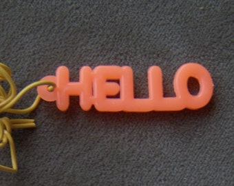 1970s Gum Machine Answer Word Necklace HELLO