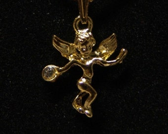 1960-70's 14K Pendent CUPID with sixteen inch chain