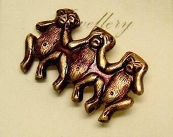 1960s Hear No, Speak No, See No Monkey Pins FUN