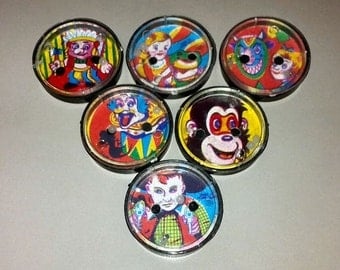 1950s Souvenir Circus Clown Patience Puzzle Set of All 6 Designs