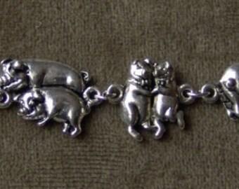 Vintage 1970s Silver Metal DANCING PIGS Bracelet 7 inches