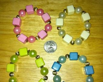 1970-80s Block and Ball Flexible Plastic Bracelet CREAM