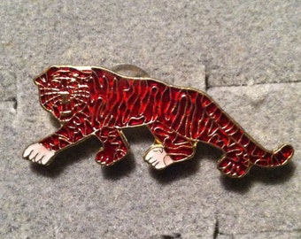 1960s-70s Ringling Bros Barnum Bailey Circus Pin RED TIGER Walking