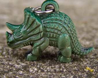 1964 NY Worlds Fair Sinclair Gas Detailed Green Triceratops Dinosaur Pendant Toy