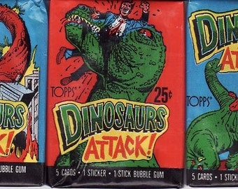 THREE Unopened Packs of 1988 DINOSAURS ATTACK pop culture icon