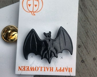 1960s-70s Vintage HALLOWEEN Pin BLACK BAT Design
