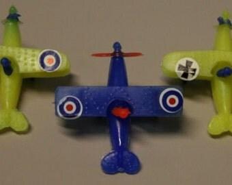 5- 1960s LIDO Plastic  Flying Aces Bi-Planes VERY RARE Series 2