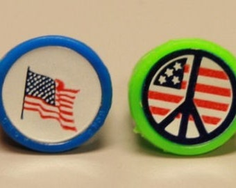 1960's Peace Love Sticker Ring Set of 4