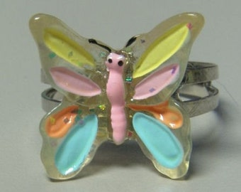 1972 ORIGINAL Metal Jelly Glaze Adjustable BUTTERFLY Ring ONE