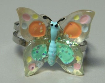 1972 ORIGINAL Metal Jelly Glaze Adjustable BUTTERFLY Ring TWO