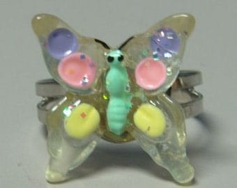 1972 ORIGINAL Metal Jelly Glaze Adjustable BUTTERFLY Ring FOUR