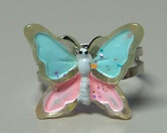 1972 ORIGINAL Metal Jelly Glaze Adjustable BUTTERFLY Ring SIX