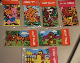 Set of 7 RARE 1970s Zoo Give-Away Jigsaw Puzzles