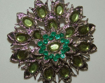 Vintage 1950s Rhinestone Brooch TULIPS in Green