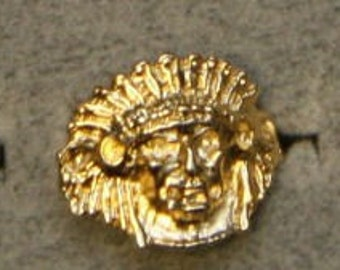 1950s Rare GOLD Indian Ring GOUDEY DESIGN