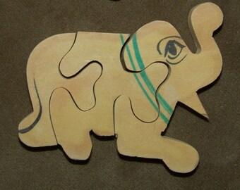 Vintage 1955 LARGE Hand-Made Wood Animal Puzzle ELEPHANT