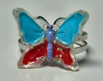 1972 ORIGINAL Metal Jelly Glaze Adjustable BUTTERFLY Ring TWELVE