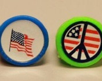1960's Peace Love Sticker Ring US FLAG