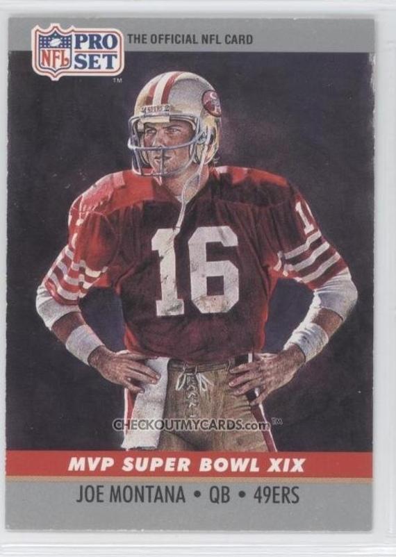 Official NFL Football Card 1990 JOE MONTANA Super Bowl 19 Mvp