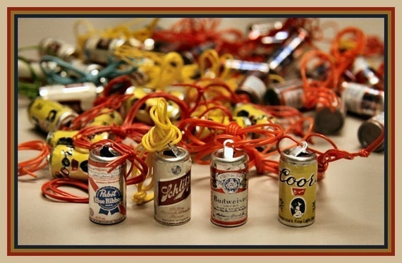 Set of FOUR 1970s Novelty BEER Can Necklaces - Budweiser Schlitz Pabst Coors