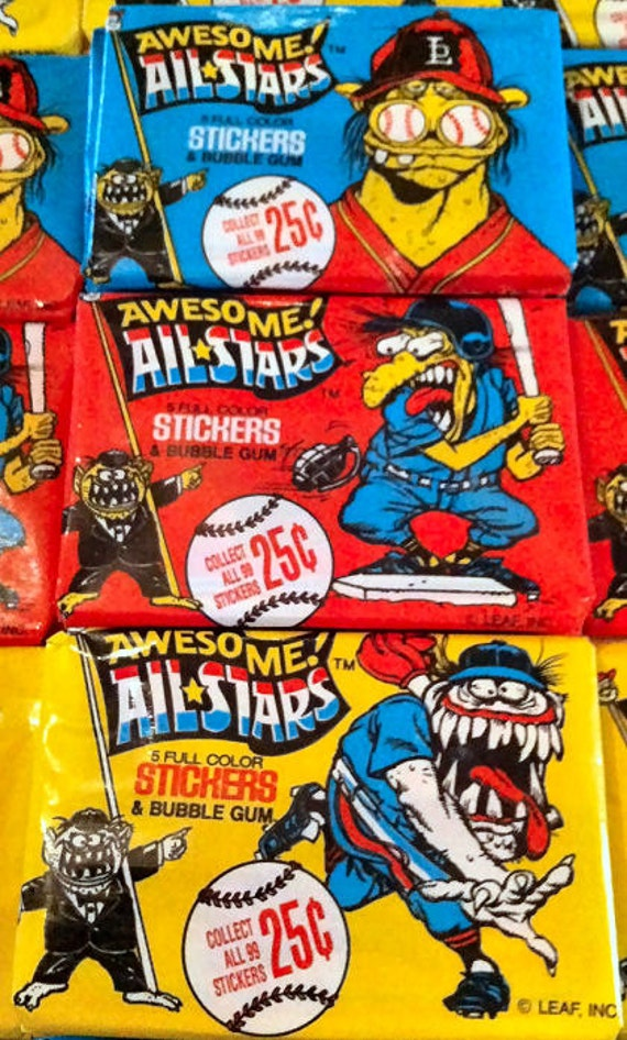 THREE Vintage 1988 Awesome ALL STARS Packs - Unopened