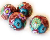 Brown Flower Beads - Polymer Clay Round Flower Beads - Green Purple and Blue Flower Beads - Focal Beads