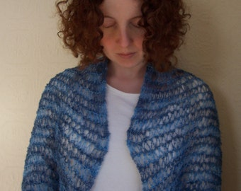 Wedgewood blue silk crinkle shawl