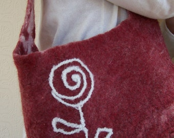 FREE SHIPPING - Burgundy flower bag