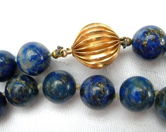 Vintage Large Lapis Lazuli and Gold Bead Necklace and Earrings Set