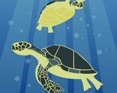 5x7 inch mini print - Turtles