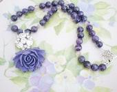 Amethyst Necklace Purple Flower Rhinestone