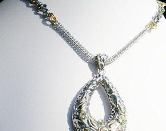 Ethnic Pendant Necklace Silver Brass Rhinestone Tear Drop Focal Boho Jewelry