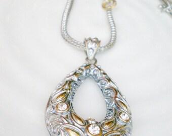Ethnic Pendant Necklace Silver Brass Rhinestone Tear Drop Focal