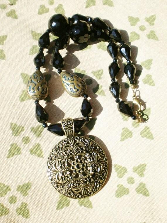 NOW RESERVED Boho Bronze Black Necklace