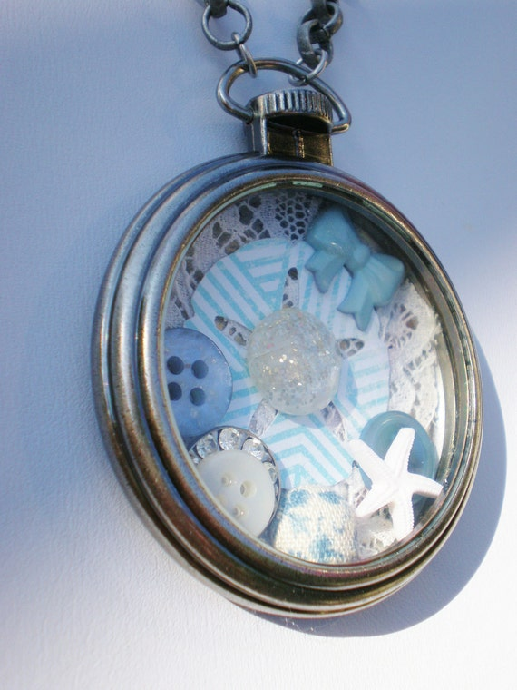 30% off SALE Nantucket Necklace Collage Pocket Watch