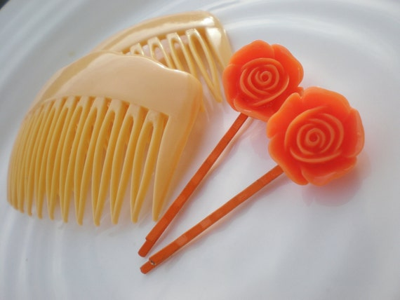 Orange Flower Bobby Pins and Peach Hair Combs Orange Julius Set