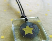 Fused glass necklace - Copper circle and star