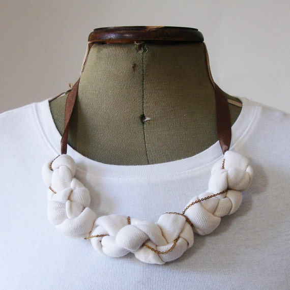 Entwined Knot Cloud Necklace in Organic Jersey and Vintage Chain - Eco-friendly