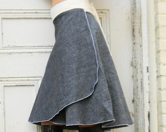 Organic Denim Wrap Skirt (Hemp and Organic Cotton)