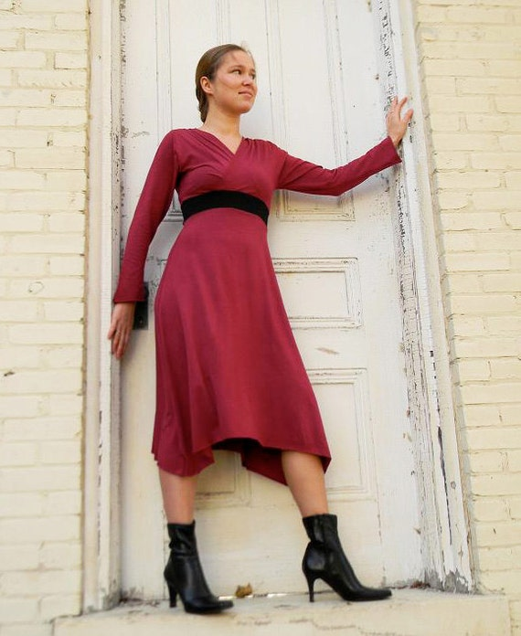 Long Sleeve V Neck Dress (Soy or Bamboo Organic Cotton)