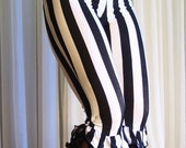 "Capri bloomers ruffles pants - 1"" black and white stripes with ruffles (color choice) - YOUR SIZE"