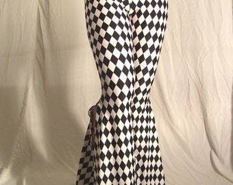 Flare tribal pants - black and white jester - YOUR SIZE
