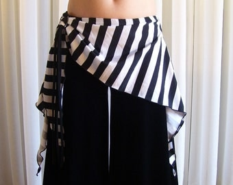"Belly dance hip skirt 11"" long - YOUR SIZE - striped black and white"