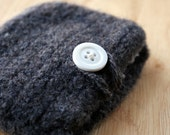 Gray Felted Pouch with White Button
