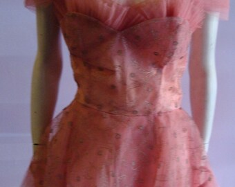 50s Salmon Embroidered Strapless  PROM DRESS