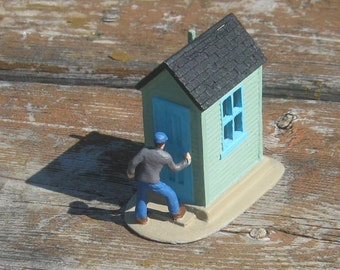"""O Scale Green Shanty 3 - with scale figure - 1/4"""" scale - 1:48 scale - original resin castings"""