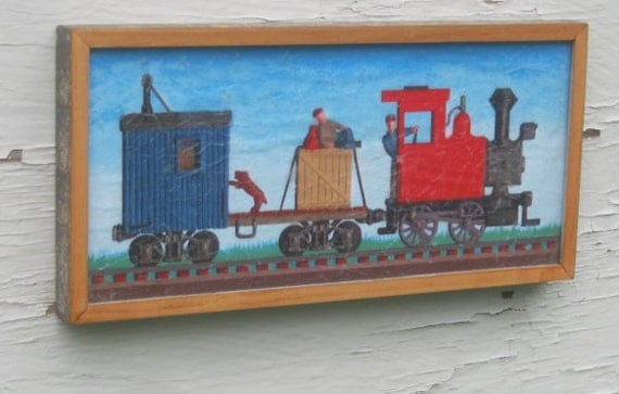 Steam Era Work Train with Engineer Hobo and Dog - Framed Textured Print