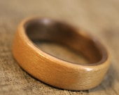 Beech Bentwood Ring with Walnut Lining - Handcrafted Wooden Ring