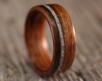 Bentwood Ring - Santos Rosewood Wooden Ring with Offset Mother of Pearl Inlay - Handcrafted Wood Wedding Ring - Custom Made