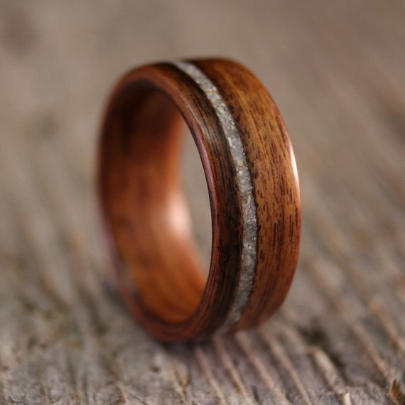Bentwood Ring Santos Rosewood Wooden Ring With Offset Mother